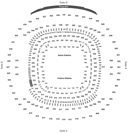2020 New Orleans Saints Season Tickets (Includes Tickets To All Regular Season Home Games) at Mercedes Benz Superdome