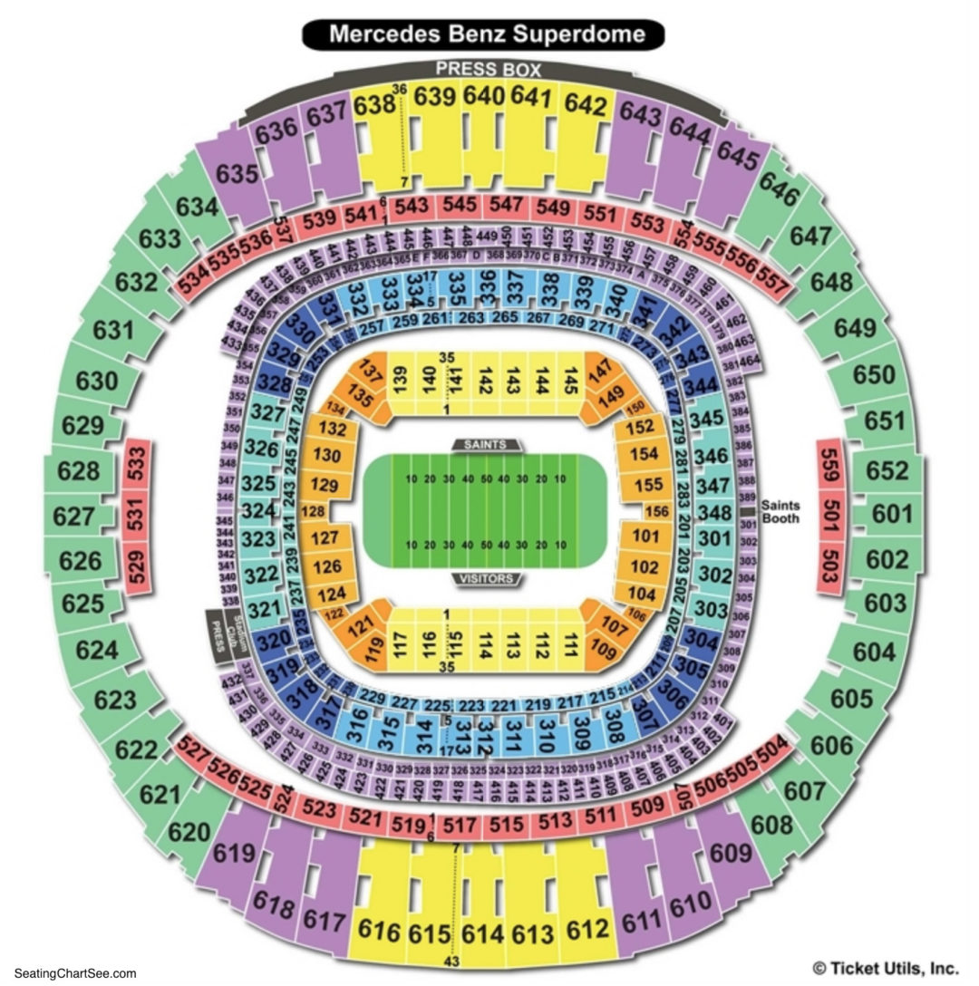 Mercedes Benz Superdome Seating Chart Section Row Seat: Superdome Seating Chart View